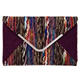 JNB Multicolor Mixed Fabric Bohemian Style Envelope Clutch, Brown