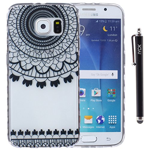 S6 Case, Galaxy S6 Case, iYCK Ultra Slim Thin Premium Flexible Soft TPU Extra Grip Anti-Scratch Protective Transparent Border Back Cover for Samsung Galaxy S6 - Paisley Black Bell -