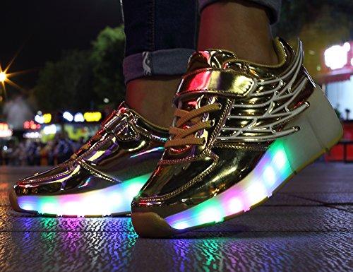 Mr.Ang con Luces LED Coloridos Parpadeante Neutra ruedas de Patines de Rueda Patín Zapatos Zapatos del Patín Zapatos Deportivos Niños y Niñas de Calzado Deportivo Zapatos de Skate K02 Doré