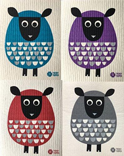 Swedish Dishcloths, Set of 4 Different Colored MODERN SHEEP: 1 each TURQUOISE + PURPLE + RED + DARK GREY (Design Swedish Outdoor Furniture)