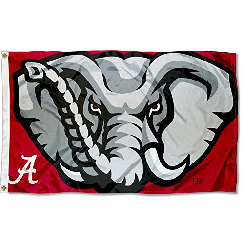 College Flags and Banners Co. Alabama Crimson Tide Elephant Head Flag Large 3x5
