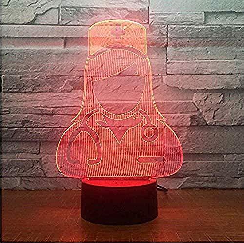 Nurse Modeling Creative 7 Color Night Light Led Plug-in Touch Color 3D Visual Light L & aacute; mpara De Mesita De Noche