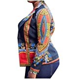Comfy Women Trim-Fit African Dashiki Floral Print Blazer Jacket Coat Black L