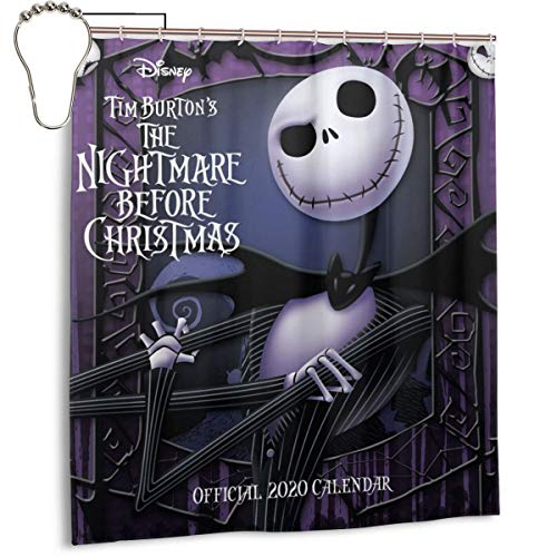 Not So Scary Halloween Party Map (66 by 72 Novelty Bathroom Decor Drapes, Jack Skellington Scary Movie Poster Shower Curtain Set with 12 Metal Grommet Holes Waterproof/Washable/No)