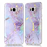 TPU Case for Samsung Galaxy S8 Plus, Silicone Marble Case Cover for Samsung Galaxy S8 Plus, ZCRO Cool Back Cover for Samsung Galaxy S8 Plus Case Soft Silicone Gel TPU Marble Stone Texture Pattern Shiny Creative Design Flexible Transparent Frame Bumper Ultra Slim Fit Rubber Protective Shell Cover Case with Stylus Pen for Samsung Galaxy S8 Plus (Purple)