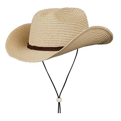 Straw Cowboy Hat,Summer Beach Sun Hats Men & Women Western Fedora with Adjustable Chin Strap (L(7 1/4-7 3/8), A2-Straw ()