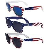 3 Pairs Team USA Bulk American Sunglasses Flag Wayfarer Patriot