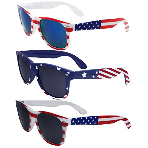 3 Pairs Team USA Bulk American Sunglasses Flag Wayfarer Patriot