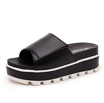 Frau Sommer Dicke Sohlen Pantoffeln,Anti-Rutsch-Soft Student-Flachboden-Hausschuhe-B Fußlänge=22.3CM(8.8Inch)