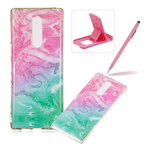 Soft Case for Sony Xperia XZ4,Anti Scratch Cover for Sony Xperia XZ4,Herzzer Stylish Pretty Pink Blue Marble Stone Pattern TPU Bumper Flexible Shock Scratch Resist Rubber Case by Herzzer (Image #1)