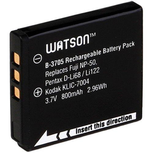 Watson D-Li68 / NP-50 / KLIC-7004 Lithium-Ion Battery Pack (3.7V, 800mAh) -Replaces Pentax D-Li68/Li122 Fuji NP-50/50A, Kodak KLIC-7004 Fujifilm:FinePix F100fd , FinePix F200EXR , FinePix F300EXR , FinePix F305EXR , FinePix F500EXR , FinePix F50fd , FinePix F550EXR , FinePix F600EXR , FinePix F60fd , FinePix F660EXR , FinePix F70EXR , FinePix F750EXR , FinePix F75EXR , FinePix F770EXR , FinePix F800EXR , FinePix F80EXR , 800 Mah Fuji Battery