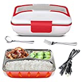 YOUDirect Car Use Electric Heating Lunch Box - Portable Bento Meal Heater Car Plug Food Warmer Stainless Steel Heating Food Container Leak-Resistant Reusable Electronic Food Boxes (Red)