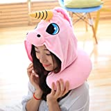 Travel Neck Pillow - Cute Unicorn Shading Hoodie U Soft Pillow for Boy and Girl (PINK)