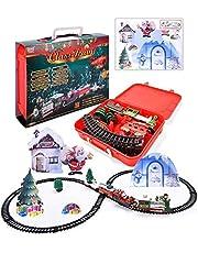 Christmas Train Set Festive Kids Toy Train Model Train Toy with Lights & Sound, Christmas Railway Train Set Around The Christmas Tree