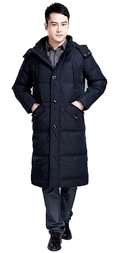 Daunenmantel Sunrolan mit Mantel Steppmantel Lang Wintermantel Herren Fellkapuze l1TFJcK3