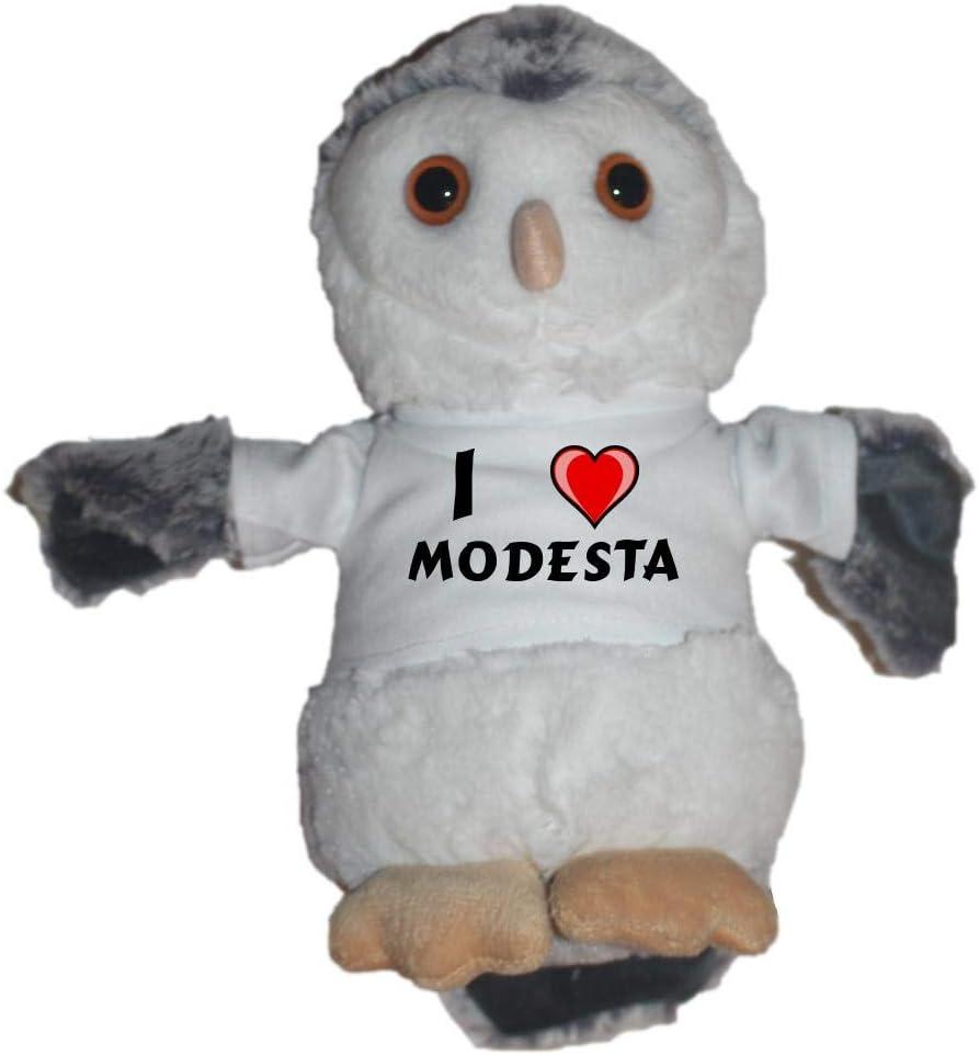 Shopzeus Búho de peluche con Amo Modesta en la camiseta (nombre de pila/apellido/apodo): Amazon.es: Juguetes y juegos