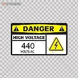 Decoration Vinyl Sticker Danger High Voltage 440 Volts Ac Decoration Motorbike (3 X 1,74 In. ) Fully Waterproof Printed vinyl sticker