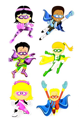 Renewing Minds Superheroes Large Superhero Cutouts, 6 Inches, 6 Assorted Multi-Colored, Pack of 36 (Superhero Classroom Door)