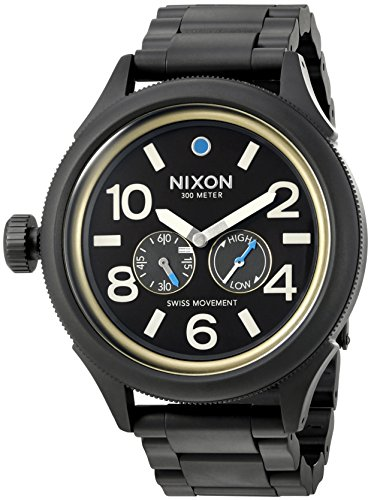 Nixon Men's 'October Tide' Quartz Metal and Stainless Steel Watch, Color:Black (Model: A4742209-00)