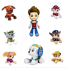 8PCS 20cm Cute Dogs Toy Puppy Patrol Plush Toy Paw Dog Rescue Team Doll Stuffed Toys - Ryder, Everest, Chase, Marshall, Rocky, Rubble, Zuma, Skye