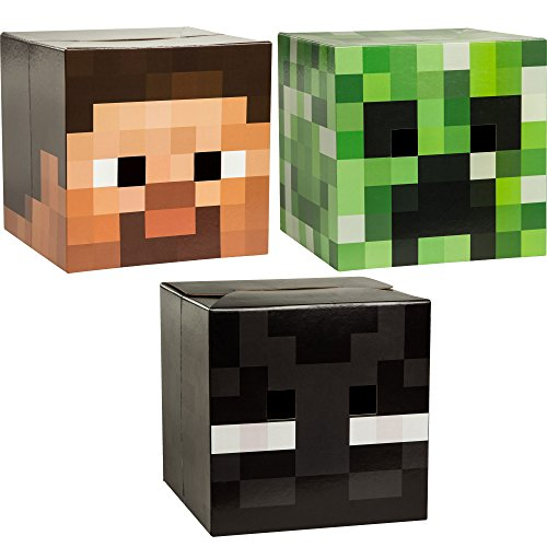 JINX Minecraft Head Costume Mask Set (Steve, Creeper & Enderman) (Minecraft Costume Head)