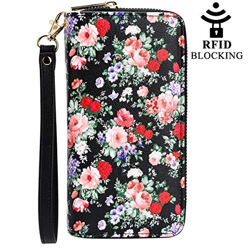 (Women Rfid Blocking Wallet Leather Bohemian Zip Around Card Phone Clutch Large Travel Purse Wristlet)