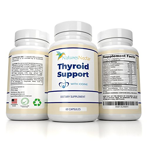 Thyroid Support 60 Tablets - Thyroid Support Supplement with Iodine- 60 Day Supply - Helps to Improve Energy & Weight Loss Plus Metabolism Made With Vitamin B-12, Bladderwrack, Kelp, L- Tyrosine, Ashwagandha For Hormonal Health