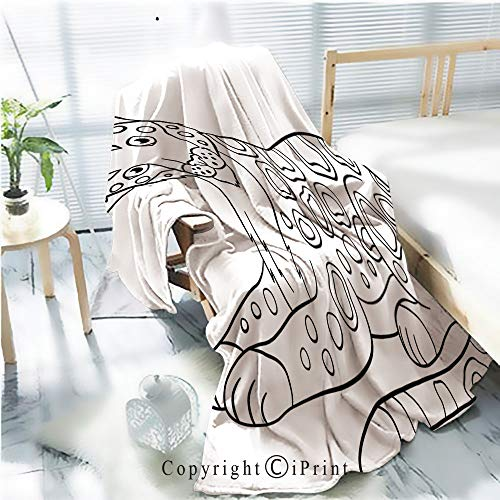 (Printed Flannel Sherpa Back Blanket,Coloring Pages Cute Jaguar Smiles Rustic Home Decor Decorative,One Side Printing,W47.2 xH59.1)