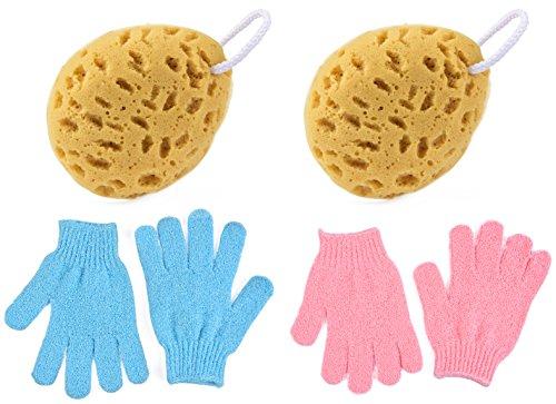Foam Bath Sponge + Exfoliating Bath Shower Gloves Scrubber, 30g Each Pair Shower Sponge Mesh Pouf Cleansing Body Remove Dead Skin, 2 Pairs Each Ideal For Men and (Mesh Terry Gloves)
