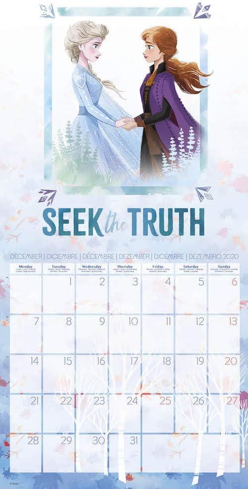 ERIK Free Poster Included 30 x 30cm CP20021 Frozen 2 2020 Wall Calendar 12 Months