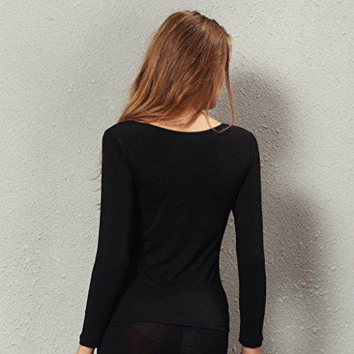 Liang Rou mujer top térmico Cuello redondo elástico de manga larga Negro