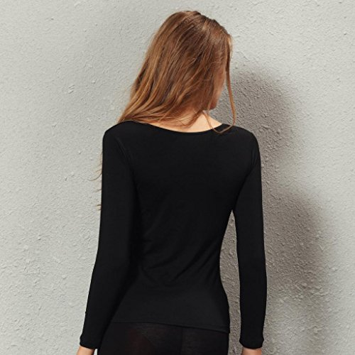 Liang Rou Women's Crewneck Stretch Top & Bottom Thin Underwear Set Black M Medium / 8-10 1 Set Black by Liang Rou (Image #4)