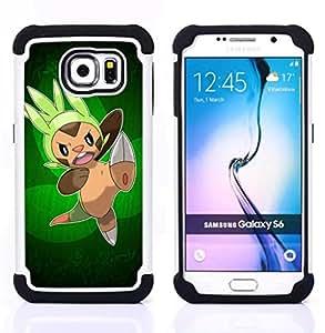 """Samsung Galaxy S6 / SM-G920 - 3 en 1 impreso colorido de Altas Prestaciones PC Funda chaqueta Negro cubierta gel silicona suave (Ataque Pokemn"""")"""