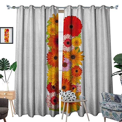 Warm Family Letter I Thermal Insulating Blackout Curtain Uppercase I with Floral Effects Vibrant Inspiring Soft Happines Bunch of Florets Patterned Drape for Glass Door W72 x L96 Multicolor