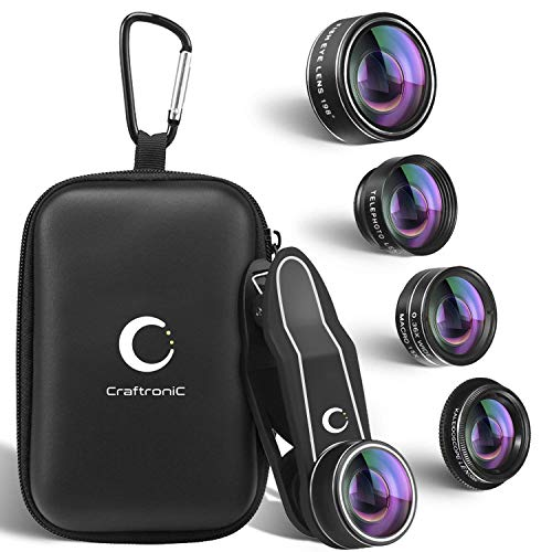 Craftronic 5 in 1 Phone Camera Lens Kit from iPhone, Samsung | 2X Zoom Telephoto | 0.36X Super Wide Angle | 198° Fisheye | 15X Macro Lens | Kaleidoscope Filter + Travel Case (2019 Upgraded)