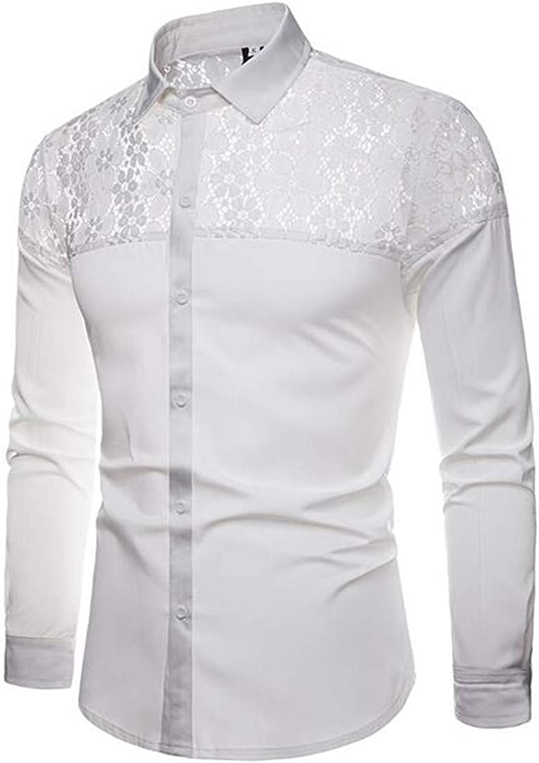 SELX Men Fashion Long Sleeve Splicing Spread Collar Solid Lace Button Down Shirts