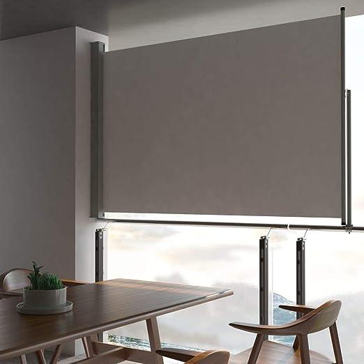 Tidyard - Toldo Lateral retráctil, toldo Cortavientos para Exterior, protección de Sol de jardín, toldo para Patio, terraza, 100 x 300 cm, Color Gris: Amazon.es: Hogar