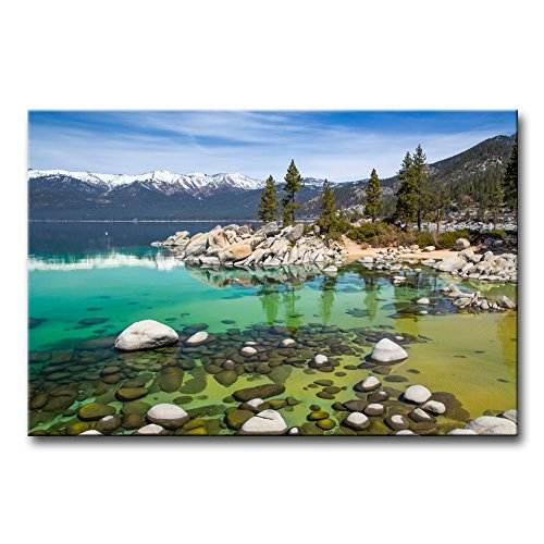 So Crazy Art - Canvas Print Wall Art Painting For Home Decor,Sandy Lake Tahoe Beach With Crystal Clear Turquoise Water And Some Kayakers Rocky Shore In Nevada California United States.Cloud Snow With