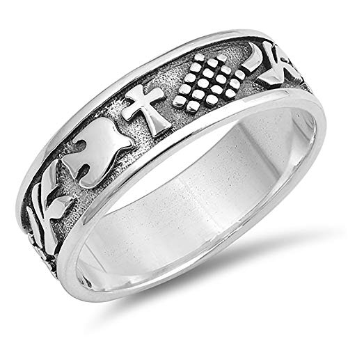 Sterling Silver Cross and Dove Wedding Band 6mm (Size 5 to 12), 7
