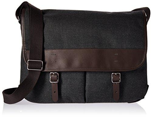 Fossil Men's Buckner Leather Trim Messenger Bag, Grey/Brown