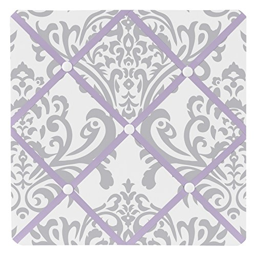 - Sweet Jojo Designs Lavender, Gray and White Damask Print Elizabeth Fabric Memory/Memo Photo Bulletin Board for a Girl