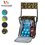 Wacces Multi-Purpose Backpack Chair/ Stool with Cooler Bag for Hiking/Fishing/Camping/Picnicking (Military with Backrest)