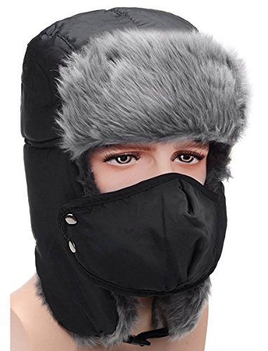 HindaWi Winter Hat Windproof Mask Ushanka Trapper Hats for Men and Women