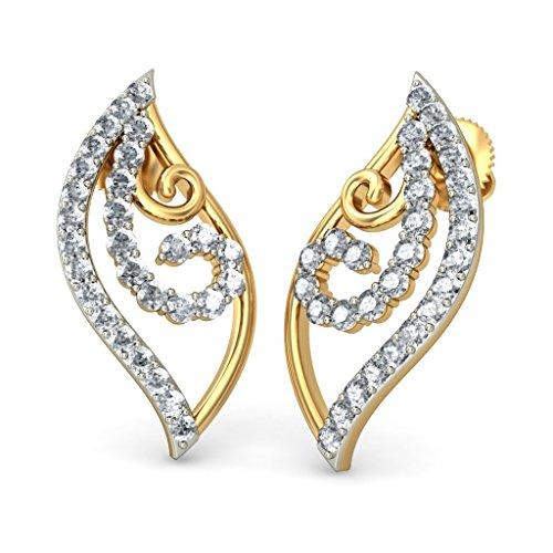 Or jaune 18K/CT TW White-diamond (IJ   SI) Boucles d'oreille à tige