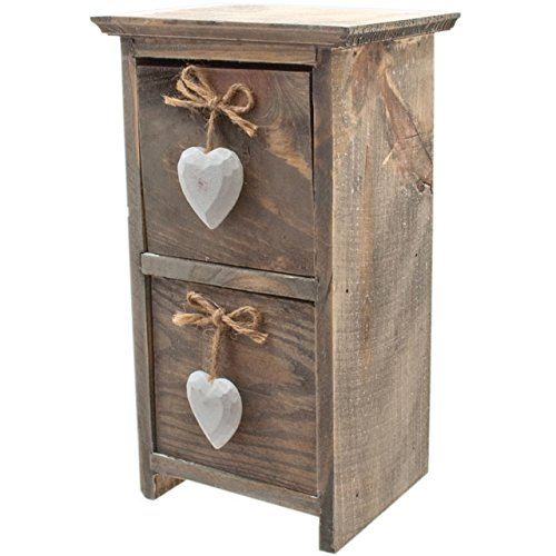Wood Brown 11.5 x 30.5 x 15 cm Something Different White Heart Double Drawer