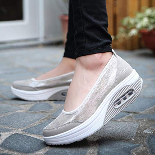 Casual Rocking Lady Fashion Comfortable Bottom Non Slip Sports Shoes Grey Thick Shoes Shoes Platform Shoes Ankle Boat FALAIDUO dq7wI7
