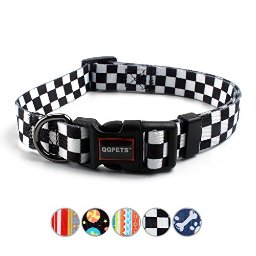 QQPETS Dog Collar Personalized Comfortable Adjustable Collars for Large Big Dogs Outdoor Walking Running Training (L, Plaid) (Top Paw Training Dog Collar)