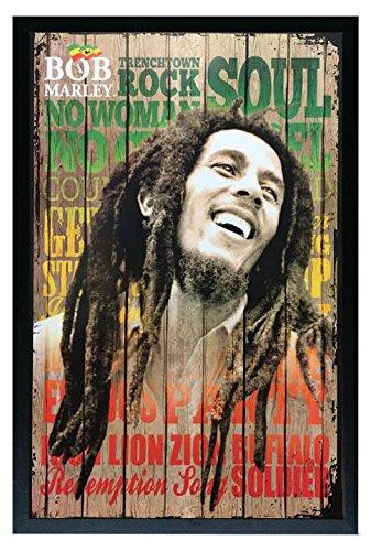Bob Marley Songs Framed Art Poster Print 36x24. On a Black Frame Made in USA.