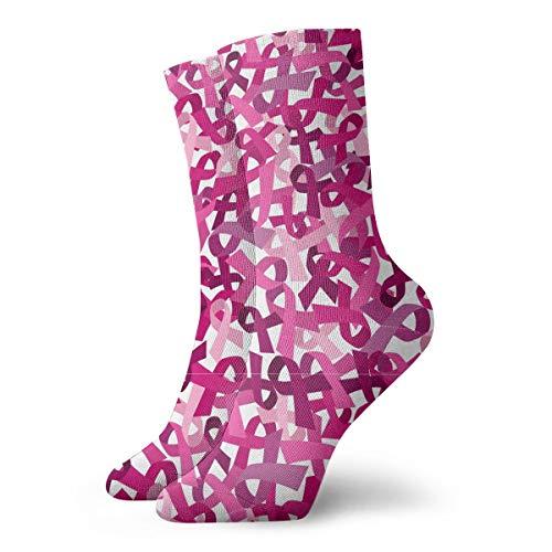 Pink Ribbon Pattern Unisex Compression Ankle Socks For Socks Best For Ski, Golf,