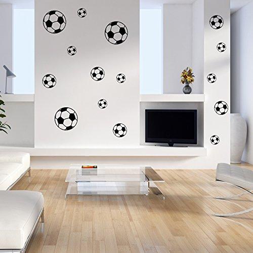 Wandtattoo Fussbälle Fussball Fan Wanddekoration Bälle Wanddesign Wandaufkleber Freizeit Sport Hobby Tattoo Dekoration Design 1 Set á 15 Stück schwarz